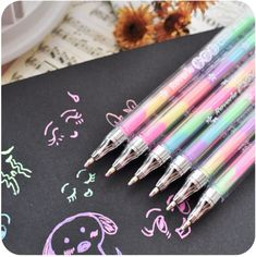 Cheap pen drive 8 gb, Buy Quality pen spray directly from China pen clear Suppliers: Cute Design Ink 6 Colors Highlighter Pen Marker Stationery Point Pen Colorful Stationery Writing Supply Girls Painting Pens Chalk Pens, Gel Ink Pens, Paint Pens, Diy Album Photo, Diy Photo, Multi Color Pen, Highlighter Pen, Ballpen, Cute Pens