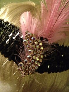 Black Sequin Flapper Headband w/ Pink Peacock Feather and Vintage Jewels on Etsy, $20.00