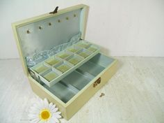 Vintage Ivory Bond St. Large Jewelry Box with Working Key & Gold Trim - Sea Foam Blue Green Satin / Velvet Interior BoHo Shabby Display Case by DivineOrders