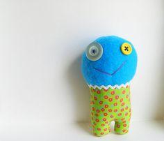 Blue Monster Doll  Stuffed Animal  Kids Toy  Fun by FluffyFlowers, $5.00