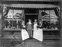Image detail for -black and white photo of butcher shop storefront, three men and one ...