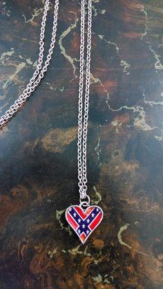 Rebel Flag Heart Pendant Necklace for Rebel Country Girl