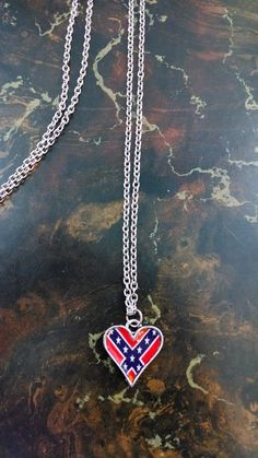 Rebel Flag Heart Pendant Necklace for Rebel Country Girl
