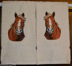 DRAFT HORSE STUNNING - 2 EMBROIDERED HAND TOWELS by Susan