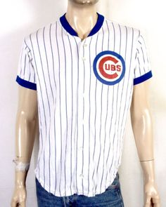 vtg 80s Rawlings soft thin Button Front MLB Chicago Cubs Jersey Shirt T-Shirt XL