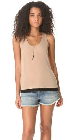 Joie Palla Colorblock Top. Crisp colorblocking lends a layered look to this figure-skimming silk tank from Joie.