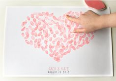 This Custom Wedding Poster makes for a great guest book. Have each of your guests leave their mark by leaving thumbprints on your poster at your wedding. Each poster will be printed with a light gray background and a large white heart, letting your guests know where to leave a finger print