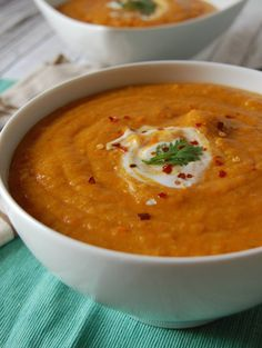 Moroccan Carrot and Red Lentil Soup - easy soup