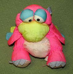 "Vintage Nylon Puffalump Type BIRD Pink Yellow Neon Plush Stuffed 9"" Prestige Toy #PresigeToy"