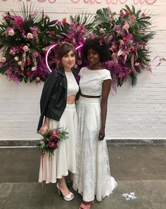 Gorgeous lesbian wedding inspiration by House of Ollichon. Shop the stunning selection of bridal separates and jumpsuits now at www.houseofollichon.co.uk #samesexwedding #lgbt #lgbtq #bridetobe #LesbianWeddingOutfit