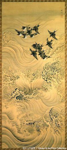 Shuki Okamoto(岡本秋暉 Japanese, 1807-1872)  Harohien-zu 波浪飛燕図