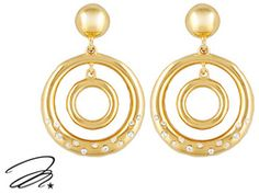 Marilyn Monroe (Tm) Jewelry Collection, 14k Yellow Gold Over Bronze Crystal Circle Earrings