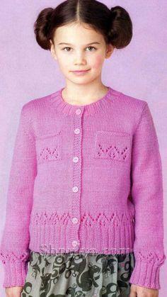 Розовый жакет с кармашками для девочки