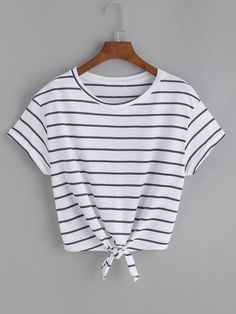 SheIn offers Striped Knot Front Tee & more t - French Shirt - Ideas of French Shirt - Shop Striped Knot Front Tee online. SheIn offers Striped Knot Front Tee & more to fit your fashionable needs. Crop Tops For Kids, Cute Crop Tops, Cropped Tops, Shirts For Teens, Dresses For Teens, Outfits For Teens, Summer Outfits, Cute Teen Shirts, Cute Summer Shirts