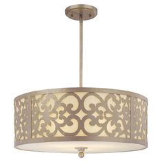 Illuminate your foyer or entryway in style with this classic drum pendant, featuring an etched glass shade and scrollwork detailing.   P...