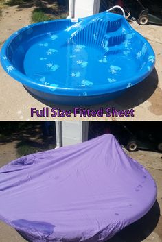 Use a full size fitted sheet to help keep bugs and debris out of your little ones play pool! Also saves you $ on your water bill because you won't have to dump and refill as often :)