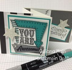 stampin up Marquee Messages Stampin Up, Scrapbooking, Messages, Writing, Happy, Cards, Stamping Up, Ser Feliz, Scrapbooks