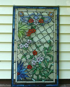 "20"" x 34"" Lg Decorative Tiffany Style Jeweled stained glass window panel flower"