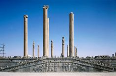 The Apadana (Audience Hall) of Darius and Xerxes. Persepolis. This hall could contain hundreds and maybe thousands of people at the same time. It was the largest building in Persepolis. The seventy-two columns which supported the roof were twenty-five meters high. The founding inscription reads:   Darius the great king, king of kings, king of countries, son of Hystaspes, an Achaemenian, built this palace.  Its eastern stairs are famous.