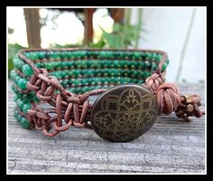 Five 5 Row Beaded Leather Boho Chic Style Cuff by MaeMonkey
