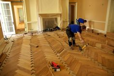 Herringbone Plywood Flooring Ideas