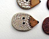 Ceramic Button, White Crackle Hedgehog Decorative Stoneware Focal Button,