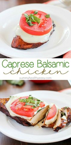 Easy Balsamic Chicken recipe with a caprese twist! Chicken breasts are cooked until tender in a flavorful balsamic sauce then topped with mozzarella basil