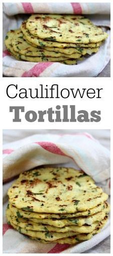 Recipe for Cauliflower Tortillas:  tortillas made out of cauliflower instead of flour.  It's unbelievable how delicious they are!  Great to eat on their own or with a taco filling.: