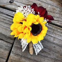 Burgundy Sunflower Boutonniere Sunflower Boutonniere
