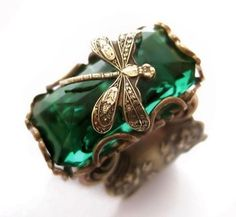 Emerald Forest Dragonfly Ring - with green glass stone and filigree via VintageFiligree