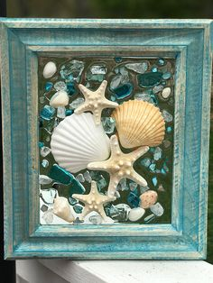 Beach Glass and shells in Frame, resin beach glass