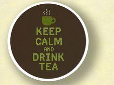 Keep Calm and Drink Tea Cross Stitch Pattern PDF by andwabisabi, $5.00