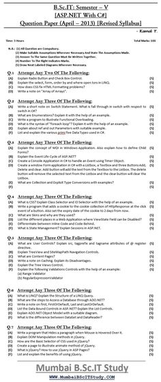 38 Best B Sc IT: SEM – V (Question Paper) [IDOL - Revised