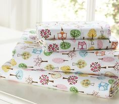 Pottery Barn Kids - Brooke Sheeting.  These are the sheets I have for her room.  I love the colors and the owls too!