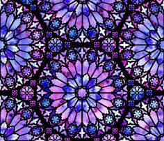 The window tracery is a jet black, while the glass is colored with watercolor bleeds in varying shades of purple. Let me know if you want this design in a different color or size!