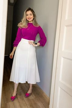 Modest Dresses, Modest Outfits, Skirt Outfits, Modest Fashion, Fashion Dresses, Basic Outfits, Casual Fall Outfits, Bright Winter Outfits, Frock Dress