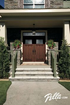 Add a touch of traditional charm to your home with a Pella® fiberglass front door.