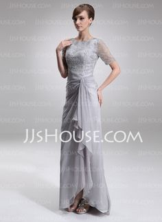 A-Line/Princess Scoop Neck Floor-Length Chiffon Charmeuse Mother of the Bride Dresses With Lace Beading (008005621) - JJsHouse