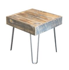 Reclaimed Wood Side, End Table, Hairpin Legs