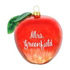 Personalized Red Apple Glass Ornament