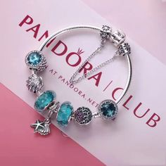 Authentic pandora charm bracelet in blue theme 925 sterling silver