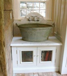 Barn Home.Wash bucket sink with wall mount faucet this would be a great laundry room sink Laundry Room Sink, Farmhouse Laundry Room, Laundry Rooms, Basement Laundry, Mud Rooms, Farmhouse Style, Small Laundry, Rustic Farmhouse, Kitchen Sink