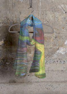 TRIPPYTREES.Cashmere silk scarf .Design from original artwork by Roger Plunkett