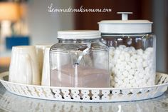 Hot cocoa, marshmallows and mugs on a tray. Love this!