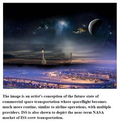 Concept of near-future space flight systems operated like current commercial airlines today.