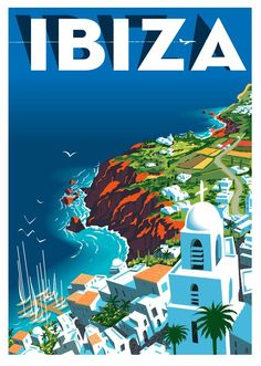 Vintage travel poster for Ibiza, Spain (artwork by Richard Zielenkiewicz) Tourism Poster, A4 Poster, Poster Wall, Vintage Advertisements, Vintage Ads, Vintage Style, Ibiza Travel, Ibiza Tourism, Uruguay Tourism