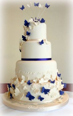Butterfly Blue White Wedding Cakes Decoration Awesome Inspired ...