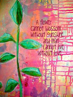 """Art on Wood Panel/Plaque - Quote - 5x7"""" - Print from Original Painting """"Growing Through the Cracks"""" - Love  #P1501"""
