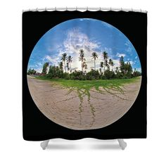 Tropical Shower Curtain featuring the photograph Palm Trees On Island by George Giunca