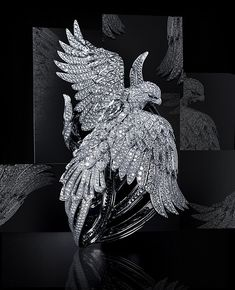 Cartier – Secret watch with phoenix decor This unique wrist watch of the shape of a phoenix is made rhodium, plated with white gold. The eyes of the phoenix are made of emeralds and 3.53 carat diamonds. 3,010 brilliant-cut diamonds totaling 80.13 carats cover the body of the phoenix.